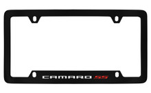 Chevrolet Camaro SS Bottom Engraved Black Coated Zinc License Plate Frame With Silver Imprint