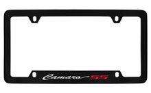 Chevrolet Camaro SS Script Bottom Engraved Black Coated Zinc License Plate Frame With Silver Imprint