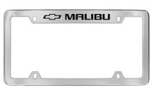 Chevrolet Malibu With Logo Top Engraved Chrome Plated Brass License Plate Frame With Black Imprint
