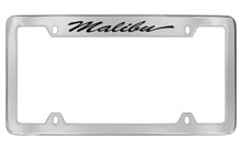 Chevrolet Malibu With Logo Script Top Engraved Chrome Plated Brass License Plate Frame With Black Imprint