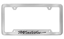 Chevrolet Malibu With Logo Script Bottom Engraved Chrome Plated Brass License Plate Frame With Black Imprint