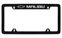 Chevrolet Malibu With Logo Top Engraved Black Coated Zinc License Plate Frame With Silver Imprint