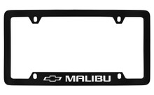 Chevrolet Malibu With Logo Bottom Engraved Black Coated Zinc License Plate Frame With Silver Imprint