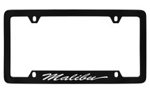 Chevrolet Malibu Script Bottom Engraved Black Coated Zinc License Plate Frame With Silver Imprint