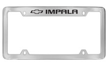 Chevrolet Impala With Logo Top Engraved Chrome Plated Brass License Plate Frame With Black Imprint