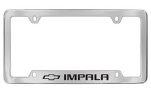 Chevrolet Impala With Logo Bottom Engraved Chrome Plated Brass License Plate Frame With Black Imprint