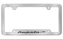 Chevrolet Impala Script Bottom Engraved Chrome Plated Brass License Plate Frame Black Imprint