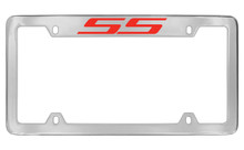 Chevrolet SS Top Engraved Chrome Plated Brass License Plate Frame With Red Imprint