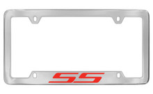 Chevrolet SS Bottom Engraved Chrome Plated Brass License Plate Frame With Red Imprint