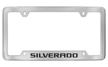 Chevrolet Silverado Bottom Engraved Chrome Plated Brass License Plate Frame With Black Imprint