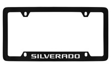 Chevrolet Silverado Bottom Engraved Black Coated Zinc License Plate Frame With Silver Imprint