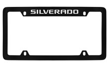 Chevrolet Silverado Script Top Engraved Black Coated Zinc License Plate Frame With Silver Imprint