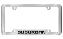 Chevrolet Suburban Bottom Engraved Chrome Plated Brass License Plate Frame With Black Imprint