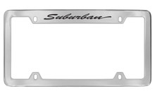 Chevrolet Suburban Script Top Engraved Chrome Plated Brass License Plate Frame With Black Imprint