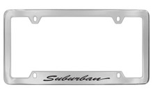 Chevrolet Suburban Script Bottom Engraved Chrome Plated Brass License Plate Frame With Black Imprint