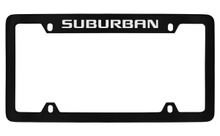 Chevrolet Suburban Top Engraved Black Coated Zinc License Plate Frame With Silver Imprint