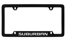 Chevrolet Suburban Bottom Engraved Black Coated Zinc License Plate Frame With Silver Imprint
