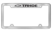 Chevrolet Tahoe With Logo Top Engraved Chrome Plated Brass License Plate Frame With Black Imprint