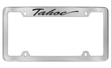 Chevrolet Tahoe Script Top Engraved Chrome Plated Brass License Plate Frame With Black Imprint