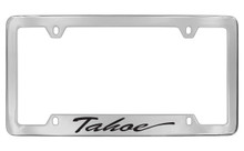 Chevrolet Tahoe Script Bottom Engraved Chrome Plated Brass License Plate Frame With Black Imprint