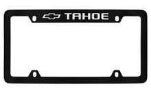 Chevrolet Tahoe With Logo Top Engraved Black Coated Zinc License Plate Frame With Silver Imprint