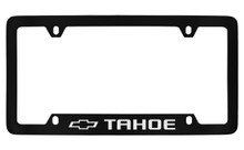 Chevrolet Tahoe With Logo Bottom Engraved Black Coated Zinc License Plate Frame With Silver Imprint