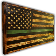 Wooden Flag W/ First Responder Designator