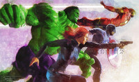 Daniel Murray Avengers Attack Signed Print