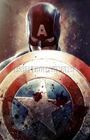 Daniel Murray Captain America & Shield Signed Print Pearl