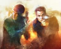 Daniel Scott Gabriel Murray Star Trek Kirk & Spock Signed Matte Print