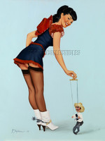 Stick 'em Up Vintage Style Pin Up Signed Print Stephenson