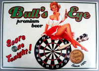 Bull's Eye Pin-Up Metal Sign
