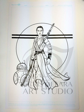 Rey Star Wars The Force Awakens Comic Book Art