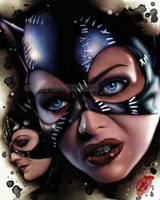 "Pete Tapang ""Meow"" Catwoman Sexy Feline Batman Signed Pin Up Art Print 8.5x11"