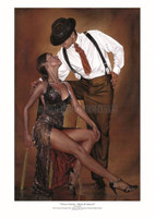 Leaning < Tango Cortina > Limited Signed # 1/50 Dance Dancers Art Print PM 11X14