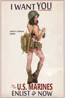 Michael Malak Want YOU Enlist US Marines Military Pin Up Giclee Print