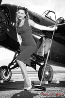 Malak Wings of Angels USO Kacie B&W WWII F4F Wildcat