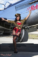 Wings of Angels Malak Pin Up Jen Rox Red Hot Rebel WWII P-51D Mustang