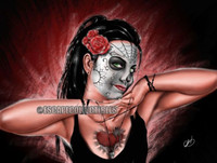"Pete Tapang ""Hands of Death"" Sugar Skull Tattoo Pin Up Art Hand Signed Print"