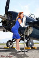 Wings of Angels Michael Malak Print Kacie Marie, Microphone and WWII F4F Wildcat