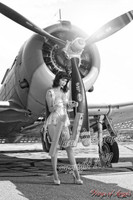 Wings of Angels Michael Malak Pin Up 3 Nina in Lingerie WWII SBD4 Dauntless B&W