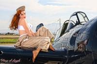 "Wings of Angels Michael Malak Pin Up 3 Kacie Marie ""Cat Flight"" WWII F4F Wildcat"