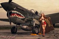 Wings of Angels Michael Malak Jessamyne Giclee C WWII P-40E Warhawk Sepia Print