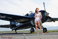 Wings of Angels Michael Malak Giclee Pin Up Kacie in Parachute WWII F4F Wildcat