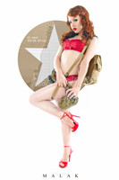 WWII Nose Art Michael Malak Jess Army in Red Cheesecake Pin Up Art Giclee  Print