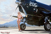 Wings of Angels Michael Malak Pin Up Print of Ashten Goodenough and the WWII Corsair