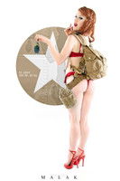 WWII Army Cheesecake Pin-Up Print Jess w/ Grenade Malak