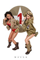 WWII Army Cheesecake Pin-Up Print Girls & Grenades Malak