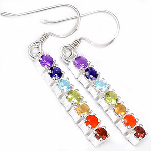 Healing Chakra 925 Sterling Silver Earrings Jewelry AAACP218