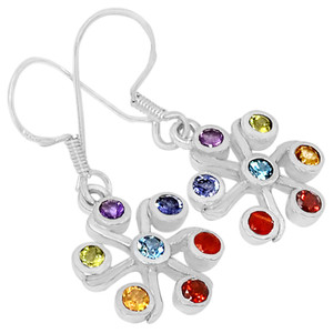 Healing Chakra 925 Sterling Silver Earrings Jewelry CP171